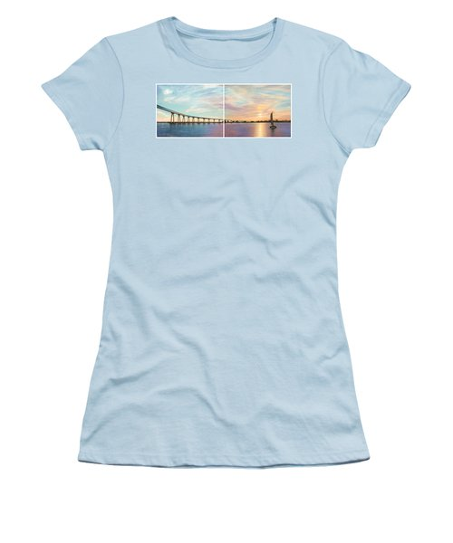 Coronado Bridge Sunset Diptych Women's T-Shirt (Athletic Fit)