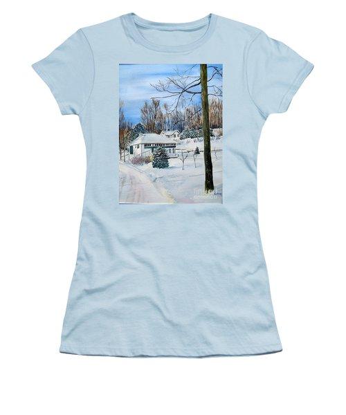 Country Club In Winter Women's T-Shirt (Junior Cut) by Christine Lathrop