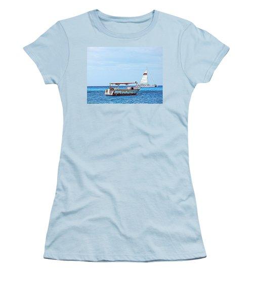 Women's T-Shirt (Junior Cut) featuring the photograph Cozumel Excursion Boats by Debra Martz