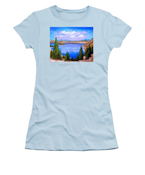 Crater Lake Oregon Women's T-Shirt (Junior Cut) by Patrice Torrillo