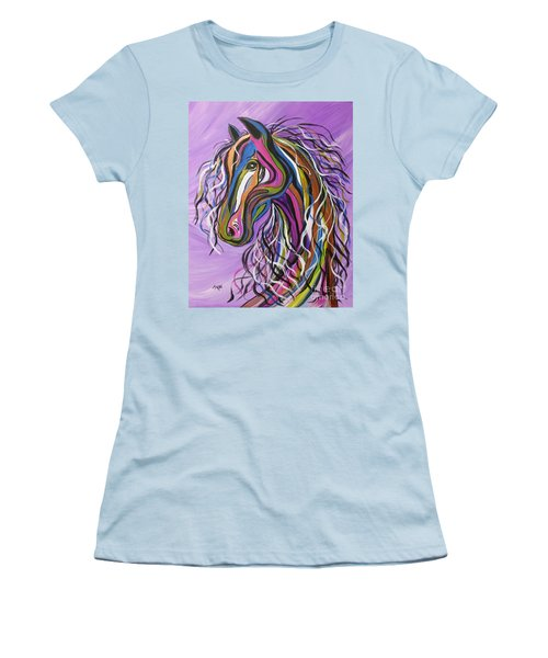 Women's T-Shirt (Junior Cut) featuring the painting Crazy Horse by Janice Rae Pariza