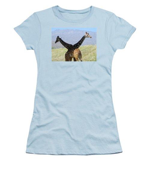 Crossed Giraffes Women's T-Shirt (Junior Cut) by Phyllis Kaltenbach