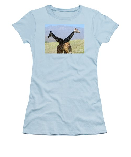 Crossed Giraffes Women's T-Shirt (Athletic Fit)