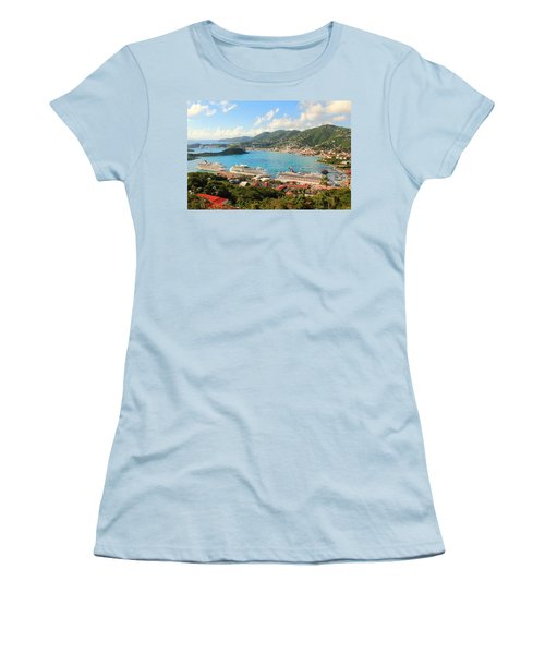 Cruise Ships In St. Thomas Usvi Women's T-Shirt (Athletic Fit)
