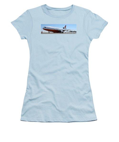 Women's T-Shirt (Junior Cut) featuring the photograph Dc-10 Air Tanker At Rapid City by Bill Gabbert