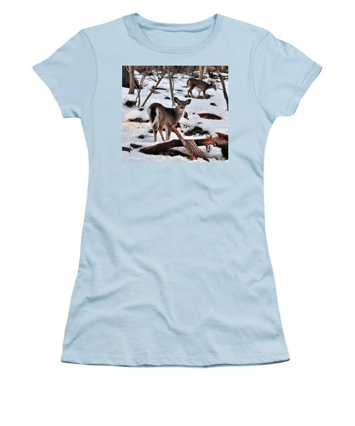 Deer And Snow Women's T-Shirt (Athletic Fit)
