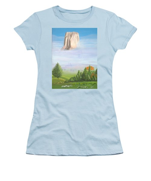 Women's T-Shirt (Junior Cut) featuring the painting Devil's Tower  by Phyllis Kaltenbach