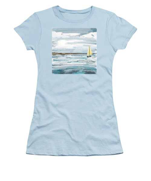 Digital Seascape In Blue Women's T-Shirt (Athletic Fit)