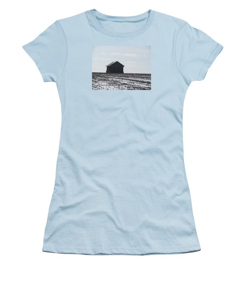 Women's T-Shirt (Junior Cut) featuring the photograph Distant Local Train Depot by Tina M Wenger