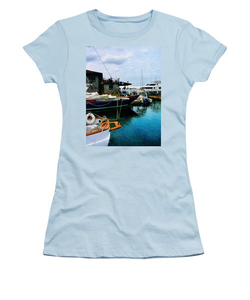 Women's T-Shirt (Junior Cut) featuring the photograph Docked Boats In Newport Ri by Susan Savad
