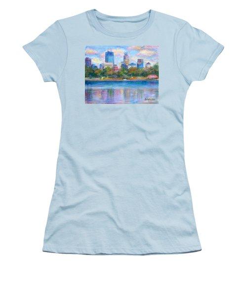 Downtown Minneapolis Skyline From Lake Calhoun Women's T-Shirt (Junior Cut) by Quin Sweetman
