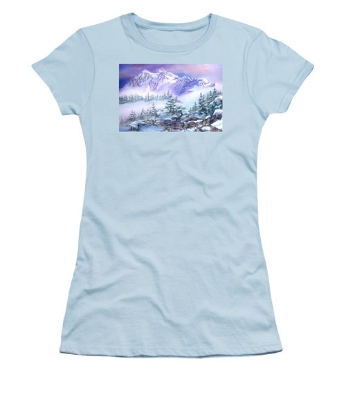 Women's T-Shirt (Junior Cut) featuring the painting Dressed In White Mount Shuksan by Sherry Shipley