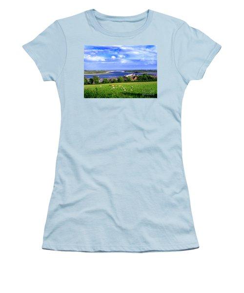 Women's T-Shirt (Junior Cut) featuring the photograph Dundrum Bay Irish Coastal Scene by Nina Ficur Feenan