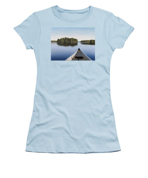 Women's T-Shirt (Junior Cut) featuring the painting Early Evening Paddle  by Kenneth M  Kirsch