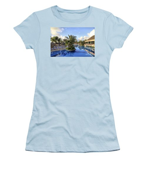 Women's T-Shirt (Junior Cut) featuring the photograph Early Morning At The Pool by Teresa Zieba