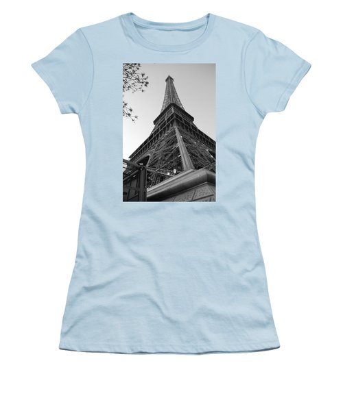 Eiffel Tower In Black And White Women's T-Shirt (Athletic Fit)