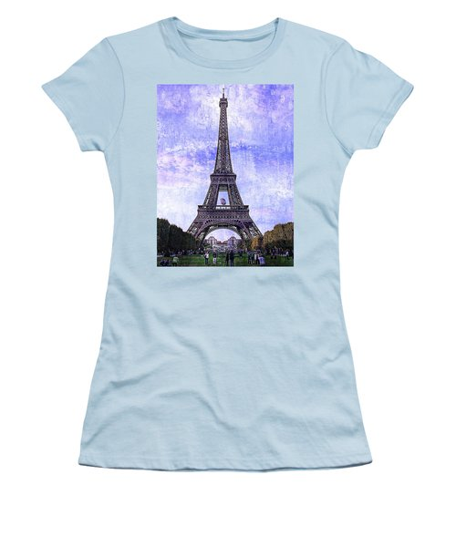 Women's T-Shirt (Junior Cut) featuring the photograph Eiffel Tower Paris by Kathy Churchman
