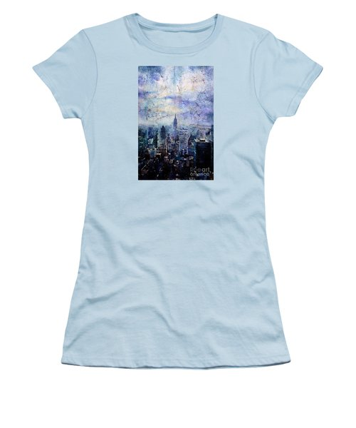 Empire State Building In Blue Women's T-Shirt (Junior Cut) by Ryan Fox