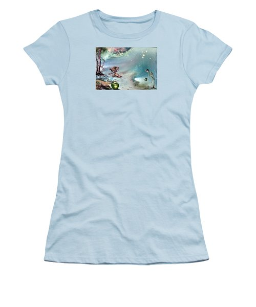 Women's T-Shirt (Junior Cut) featuring the painting Enigma by Mikhail Savchenko