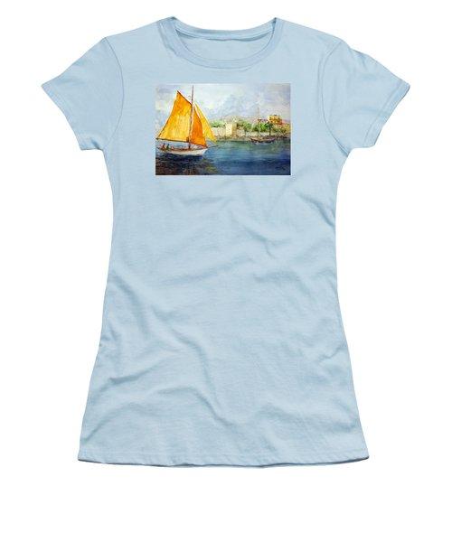 Entering The Port - Foca Izmir Women's T-Shirt (Junior Cut) by Faruk Koksal