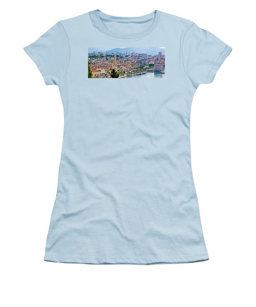 Fabulous Split Waterfront Aerial Panorama Women's T-Shirt (Athletic Fit)