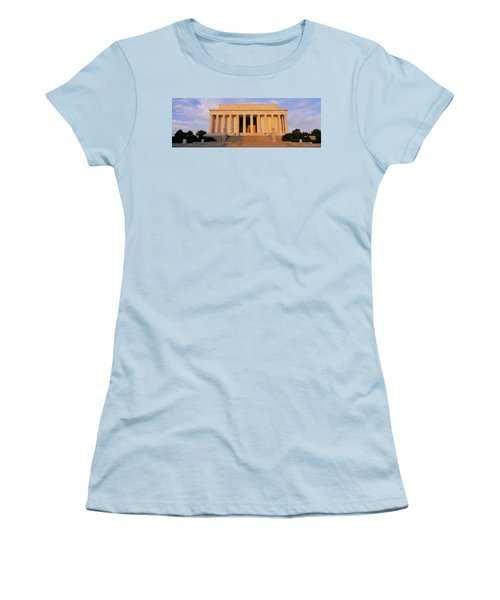Facade Of A Memorial Building, Lincoln Women's T-Shirt (Junior Cut) by Panoramic Images