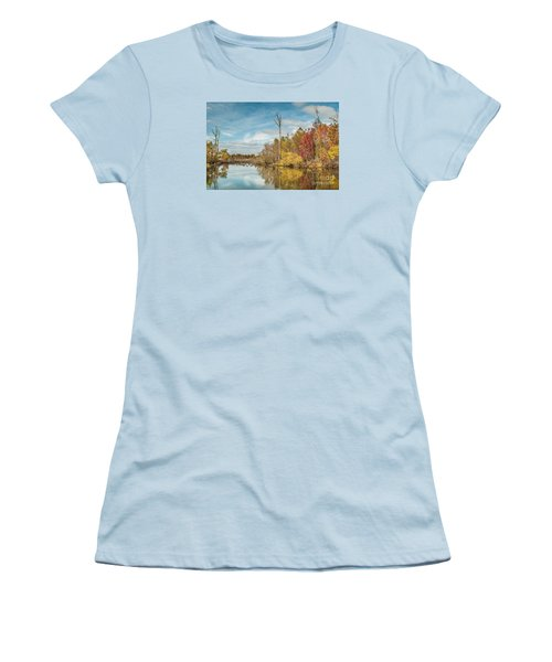 Women's T-Shirt (Junior Cut) featuring the photograph Fall Pond by Debbie Green