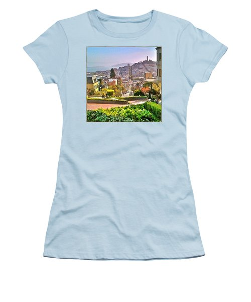 Favorite Places Lombard Street San Francisco California Women's T-Shirt (Junior Cut) by Anna Porter