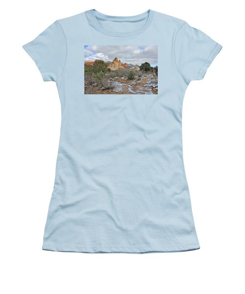 Women's T-Shirt (Junior Cut) featuring the photograph First Snow At Garden Of The Gods by Diane Alexander