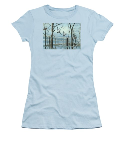 Women's T-Shirt (Junior Cut) featuring the painting First Snow by Mike Brown