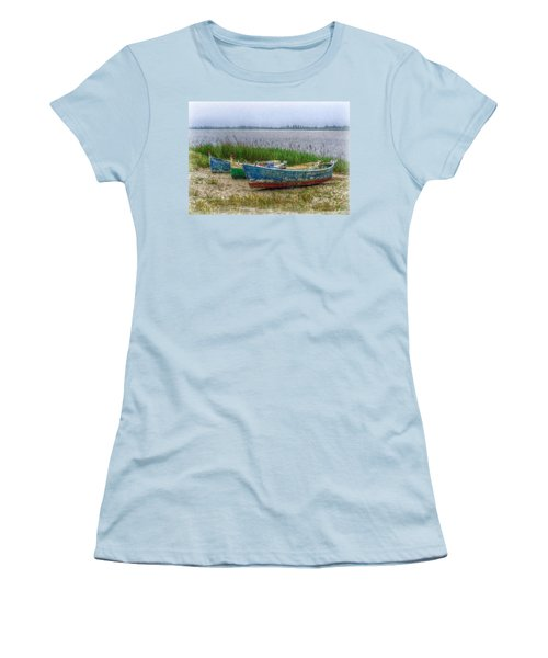 Women's T-Shirt (Junior Cut) featuring the photograph Fishing Boats by Hanny Heim