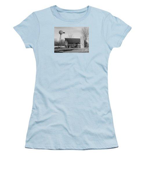 Forgotten Farm In Black And White Women's T-Shirt (Junior Cut)