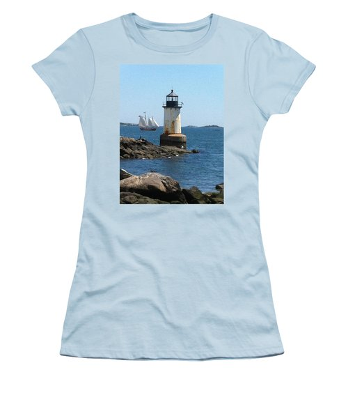 Women's T-Shirt (Junior Cut) featuring the photograph Fort Pickering Light by Denyse Duhaime