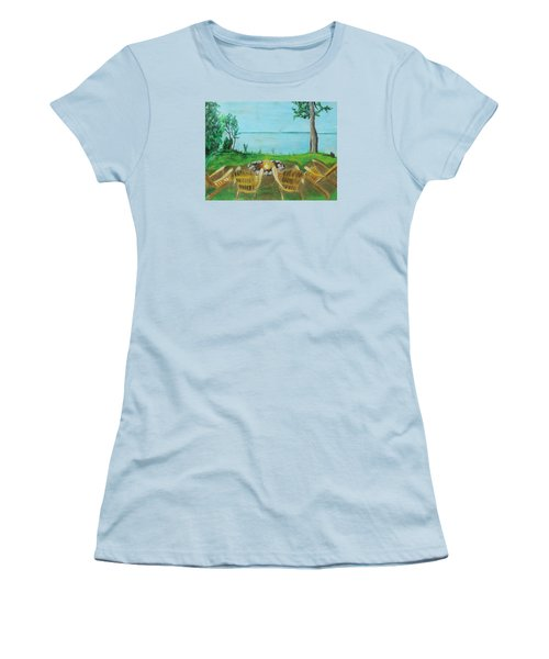 Women's T-Shirt (Junior Cut) featuring the painting Four Chairs by Jeanne Fischer