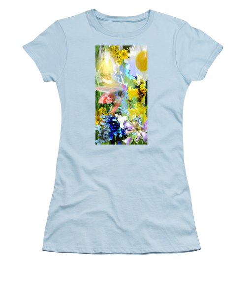 Women's T-Shirt (Junior Cut) featuring the digital art Framed In Flowers by Cathy Anderson