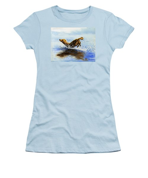 Frolicking Dog Women's T-Shirt (Athletic Fit)