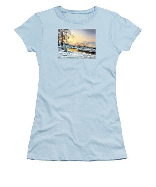 Women's T-Shirt (Junior Cut) featuring the painting Frozen by Vesna Martinjak