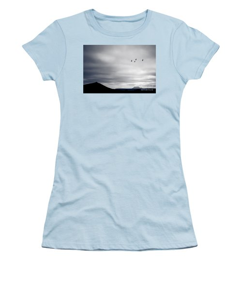 Women's T-Shirt (Junior Cut) featuring the photograph Geese Flying South For Winter by Peta Thames