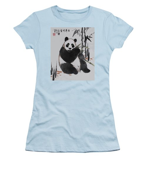 Giant Panda Women's T-Shirt (Junior Cut) by Yufeng Wang