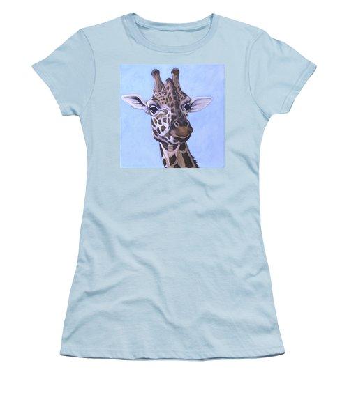 Women's T-Shirt (Junior Cut) featuring the painting Giraffe Eye To Eye by Penny Birch-Williams