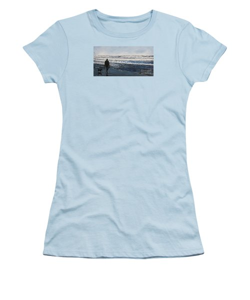 Girl And Dog Walking On The Beach Women's T-Shirt (Junior Cut) by Ian Donley