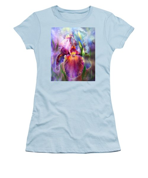 Women's T-Shirt (Athletic Fit) featuring the mixed media Goddess Of Healing by Carol Cavalaris
