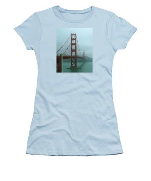 Golden Gate Bridge And Partial Arch In Color  Women's T-Shirt (Athletic Fit)