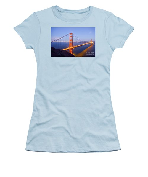 Golden Gate Bridge At Dusk Women's T-Shirt (Athletic Fit)