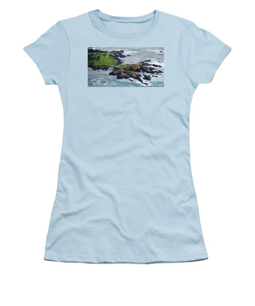 Golf Course On An Island, Pebble Beach Women's T-Shirt (Athletic Fit)
