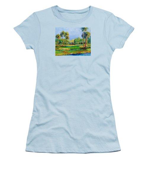 Women's T-Shirt (Junior Cut) featuring the painting Golf In The Tropics by Lou Ann Bagnall
