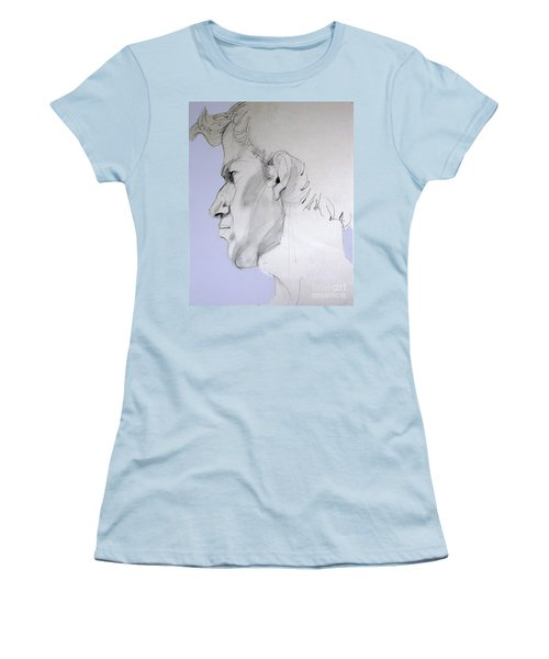 Women's T-Shirt (Junior Cut) featuring the drawing Graphite Portrait Sketch Of A Young Man In Profile by Greta Corens