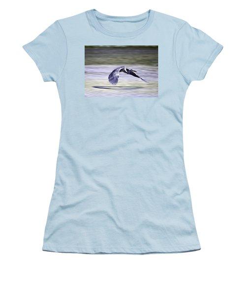 Great Blue Heron In Flight Women's T-Shirt (Junior Cut) by John Haldane