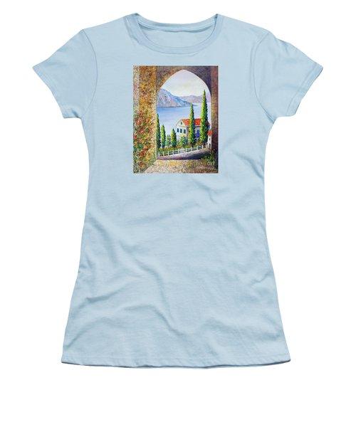 Women's T-Shirt (Junior Cut) featuring the painting Greek Arch Vista by Lou Ann Bagnall