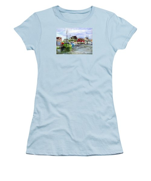 Peggys Cove Nova Scotia Watercolor Women's T-Shirt (Athletic Fit)